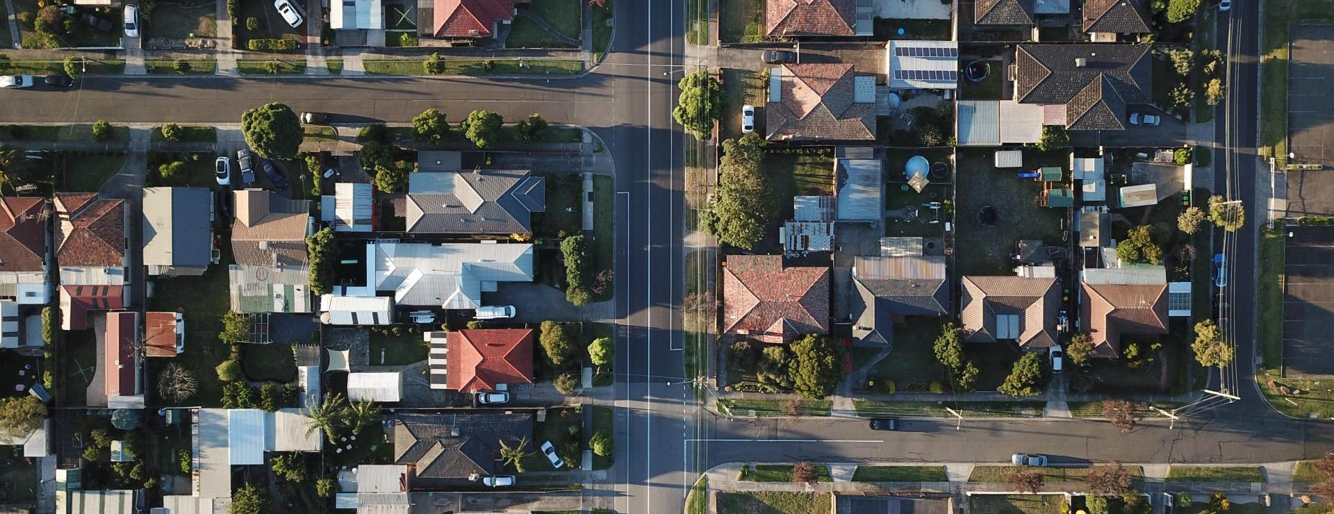 Above view of subdivision