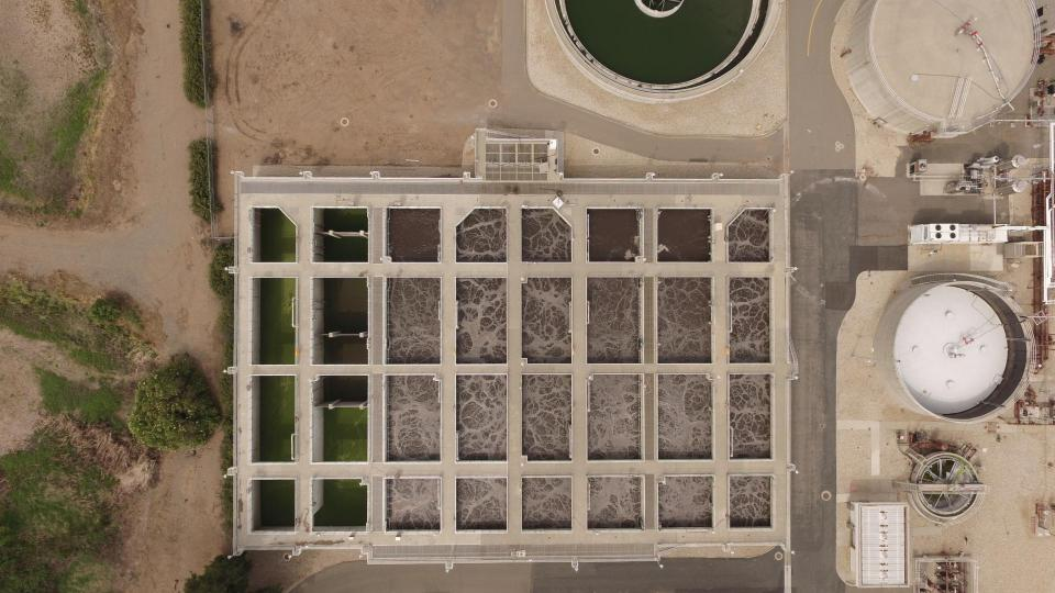 aerial photo of drying pools
