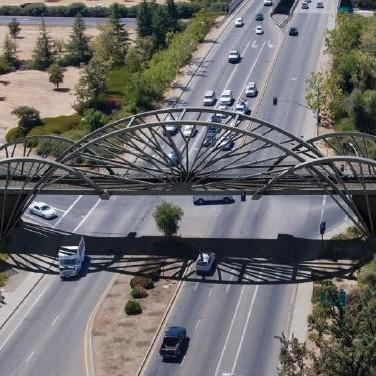 Bike bridge over freeway