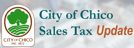city of chico logo with the words city of chico sales tax update on the graphic